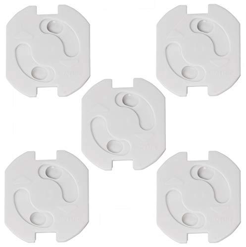 Kindersicherung für Steckdosen 5 Stück zum Kleben I Kinderschutz für Steckdosen I Steckdosen-Absicherung I erhöhte Sicherheit I Dreh-Mechanik I Weiß