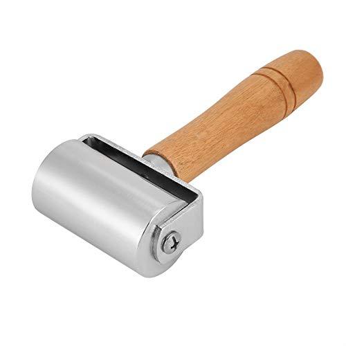 Edge Creaser, Andrückrolle, Holzgriff Aufspannplatte Werkzeuge Leder Andruckrolle Leder Kleberolle Metallrolle(60mm)
