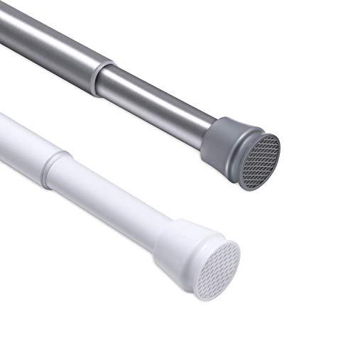 CLOFY Duschvorhangstange | sicherer Halt ohne Bohren | 304 Teleskopstange aus Edelstahl, Länge einstellbar(70 bis 120cm) | Tragfähigkeit 8 kg, Nickel