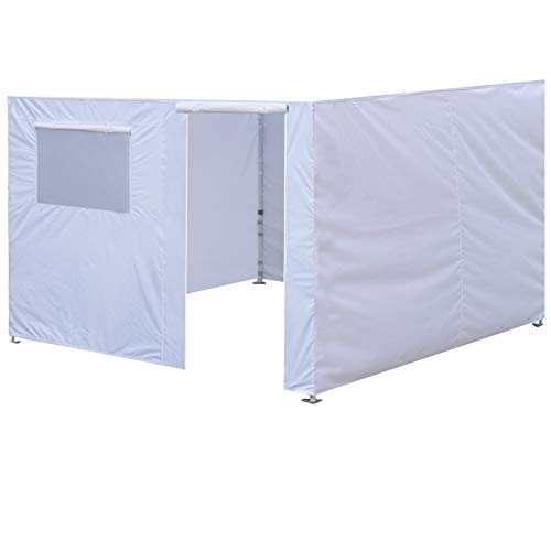 Eurmax Full Zippered Walls for 10 x 10 Easy Pop Up Canopy Tent,Enclosure Sidewall Kit with Roller Up Mesh Window and Door,4 Walls ONLY,White