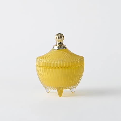 Vela de piedra de cristal Vela de aromaterapia interior Desodorante de aromaterapia purificante de aire perfumado cera de planta (amarillo)