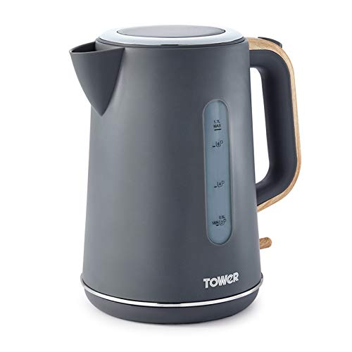 Tower Scandi T10037G Kettle with Rapid Boil and Boil Dry Protection, 1.7 Litre, 3 kW, Grey