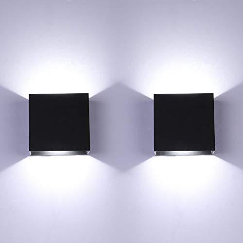 Glighone Aplique de Pared Interior Lámpara pared Moderna Negro LED Arriba Abajo Lámpara para Dormitorio Sala de Estar Escalera, 6W X 2 Blanco Frío
