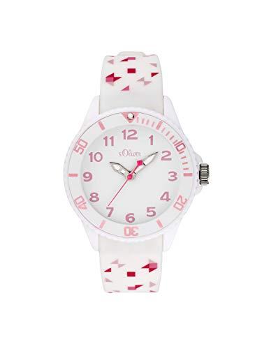 s.Oliver Mädchen Analog Quarz Uhr mit Silikon Armband SO-3921-PQ