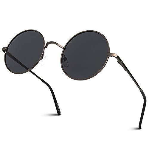 GQUEEN GQUEEN Klassische Lennon Runde Polarisierte Sonnenbrille mit UV400 Schutz MEZ1