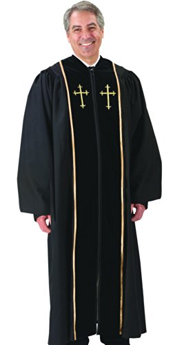 Black Pulpit Robe with Beautiful Gold Embroidery (53 Small: 5'6' - 5'7' Height. 53' Back Length. 33' Sleeve Length)