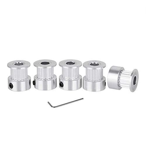 Redrex 5Pcs Aluminium 5mm GT2 Bore Zahnriemenrad 16 Zähne und Inbusschlüssel für 3D-Drucker Reprap 6mm Breite Zahnriemen