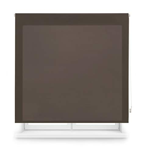 Blindecor Ara - Estor enrollable translúcido liso, Marrón Oscuro, 100 x 175 cm (ancho x alto)