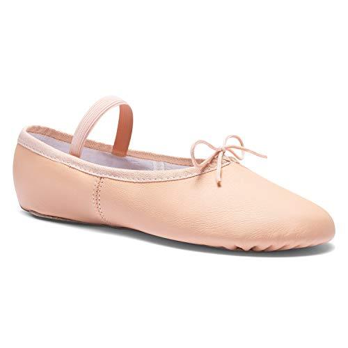 DWS 1003 Ballett Ballerina Tanz Gymnastik Sport Hallen Trainings Schläppchen Schuhe Leder Kinder Damen Mittlere Weite Rosa, Weiß und Schwarz, 33 EU, Pink
