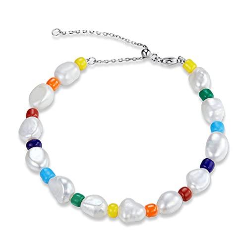 Vioness - Pulsera de cadena con perlas blancas de colores arcoíris arcoíris y plata 925 ajustable, cadena de mano para mujer y niña