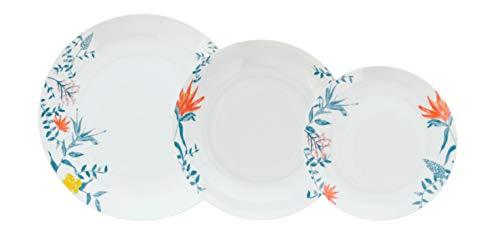 Bidasoa Aruba Vajilla de porcelana para 6 personas, 18 piezas, Blanca con ala decorada