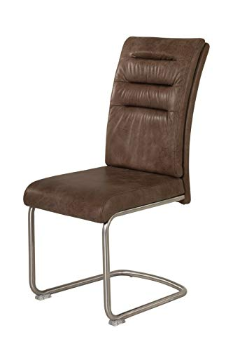 MJC 4er Set Freischwinger Stuhl Paula S Edelstahl 140 kg Esszimmerstuhl mit Griff, Farbe:Braun