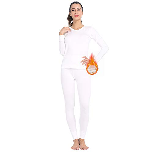 MANCYFIT Womens Thermal Underwear Long Johns Set with Fleece Lined Ultra Soft V Neck White Small