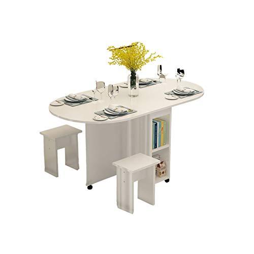 CYYAN Mesa Plegable con Armario, Mesa telescópica para Seis Personas Mesa de Comedor Luz Combinación de Lujo Móvil Fácil de Limpiar Estable Anticorrosión y a Prueba de Humedad