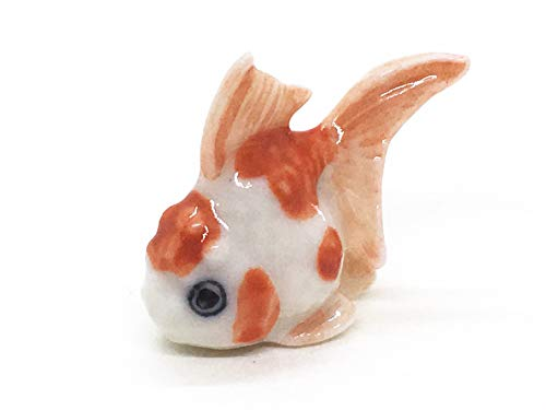 WitnyStore Very Small Ceramic 0.7  Tall Goldfish Miniature Figurine Baby Gold Fish Tiny Animals Cute Souvenir Collectibles