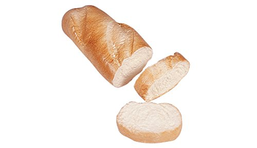 ERRO Weißbrotstück mit 2 Scheiben aus Kunststoff - 15494, Baguette, Weissbrot, Stangenbrot, Bäckerei Dekoattrappe, Lebensmittelnachbildung Brot, Fake, Theater Requisite