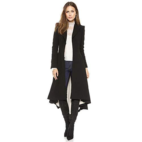JIER Tuxedo Gothic Mantel Damen Jacke Steampunk Vintage Lange Slim Jacke Smoking Uniform Viking Renaissance formalen Trenchcoat Wolljacke (Schwarz,xx-Large)