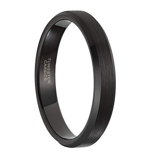 Frank S.Burton 4mm Black Tungsten Ring for Men Women Thin Brushed Wedding Band...