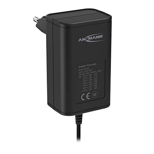 ANSMANN APS 300 - Fuente de alimentación (12 V, Enchufe hasta máx. 300 mA, con 7 adaptadores universales, Adaptador para alimentación de Muchos aparatos eléctricos de 3-12 V, Regulable)
