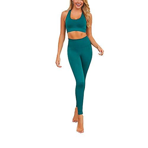 Enfei Damen Yoga Hose Hohe Taille Bauchkontrolle Übung Laufen Dehnen Yoga Fitness Anzug Weste Set