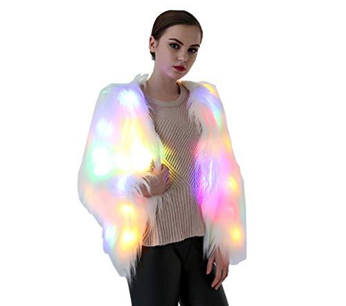 Preisvergleich Produktbild YuanDian Damen LED Bunt Aufhellen Kunstfell Mantel Party Nacht Beleuchten Weich Warm Kunstpelz Langarm Jacke Fellimitat übergang Outerwear Weiß XL
