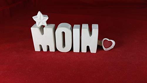 Beton, Steinguss Buchstaben 3 D Deko Schriftzug Namen MOIN als Geschenk verpackt! Ein ausgefallenes Geschenk als Deko Schriftzug für einen schönen Platz im Home. Dekobuchstaben Beton Moin Moin