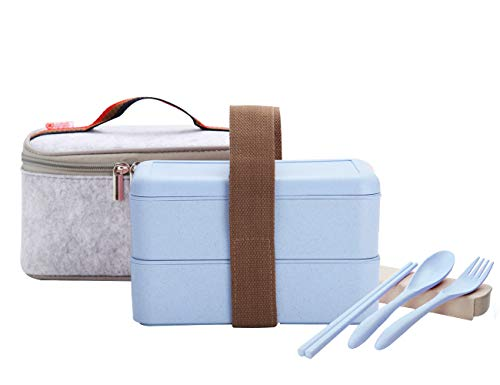 ArderLive Japanese Bento Box, Stackable Wheat Straw Portable Leakproof Lunch Box with Lunch Bag & Portable Utensil, All-in-one Eco-Friendly Food Storage Container .(Blue)