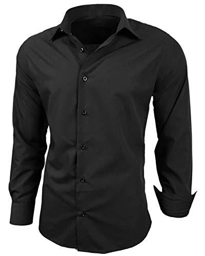 Baxboy Herren-Hemd Slim-Fit Bügelleicht Für Anzug, Business, Hochzeit, Freizeit - Langarm Hemden für Männer Langarmhemd R-44, Farbe:Schwarz, Größe:XL