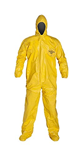 DuPont QC122SYL2X00 Tychem QC Chemical Protection Coveralls with Serged Seams, Front Zipper Closure, Attached Hood & Sock Boots, Elastic Face & Elastic Wrists, 2XL, Yellow