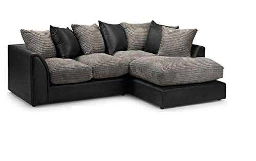 Modern Byron Fuax leather and Jumbo Cord Sofa (Brown and Beige, Corner Right Hand)