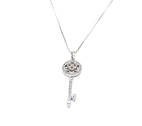 Collana Oro Bianco 18kt (750) Catenina Veneta Pendente Chiave con Zirconi Portafortuna Donna Ragazza