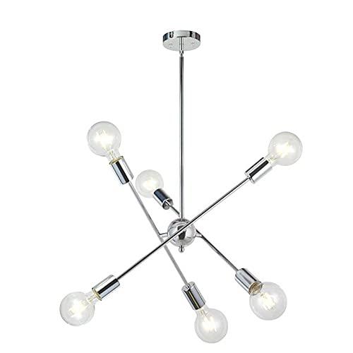 WASDY 6 Luces-Moderna Lámpara De Araña Sputnik Iluminación Colgante Iluminación Cepillada Araña De Bronce Mediados De Siglo Oro Lámpara De Techo para Vestíbulo Bar Cocina Comedor,Plata