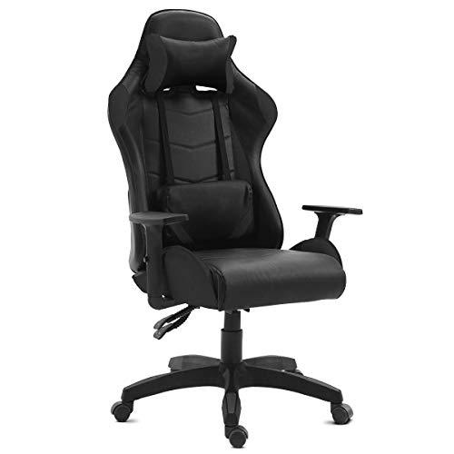 Mc Haus, Silla Gaming de Escritorio personalizada para Videojuegos, Sillón de Oficina o Estudio para Gamers, con reposabrazos ajustables, giratoria, ergonómica, reclinable y cómoda, Color Negro