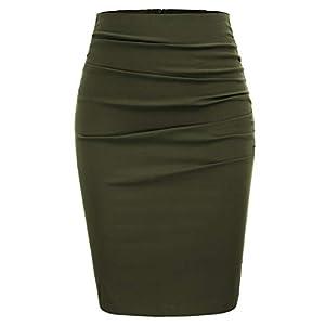 GRACE KARIN Womens Elegant Ruched Knee Length Slim Fit Business Skirt