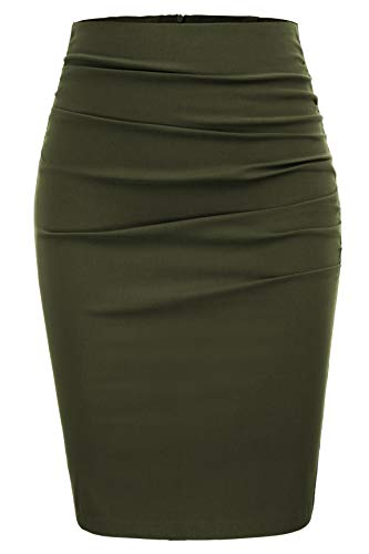 GRACE KARIN Women Ruched Front Hip Wrapped Office Pencil Skirt Size 2XL,Army Green