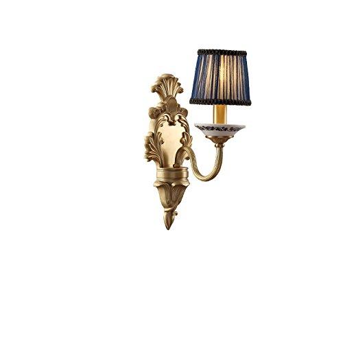ZWL Retro Pure Copper Bedroom Lampe de chevet Living Room Lampe murale, Creative E14 Simple et double tête 16-37cm Entrée Corée Luminaires de mur de corridor Éclairage Lampes et lanternes pour décoration intérieure mode ( taille : 16*40CM )