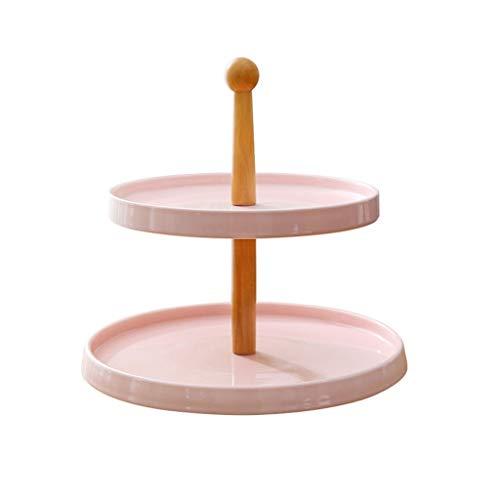 Soporte para Tartas Soporte de pastel de doble capa de cerámica europea Soporte de postre de fruta creativo Soporte de exhibición de pastel de té de la tarde Bandejas para Tartas ( Color : Pink )