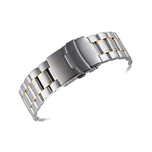 Correa de reloj, correa de acero inoxidable 18 mm 20 mm 22 mm Correa Hebilla desplegable universal para hombres y mujeres Correa de muñeca de metal sólido Pulsera de joyería (Color de banda: Plat