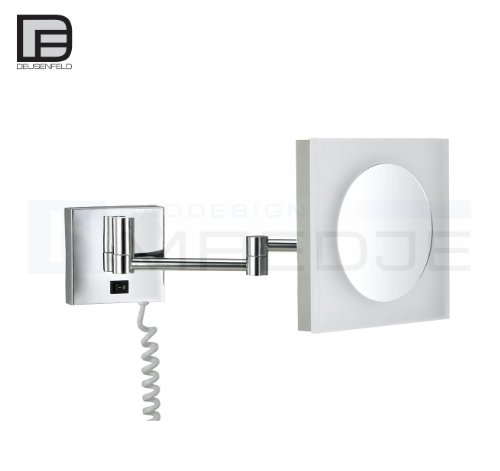 DEUSENFELD KP740 - beleuchteter Wand LED Kosmetikspiegel Quadro 7-Fach Vergrößerung, 20x20cm, Tageslicht LEDs, PMMA Leuchtfeld