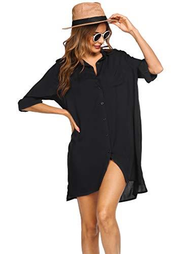 MAXMODA Vestido de Playa Mujer Pareos Camisola de Playa Sexy Bikini Cover up Traje de baño para Verano Poncho para Vacaciones en la Playa Viajes