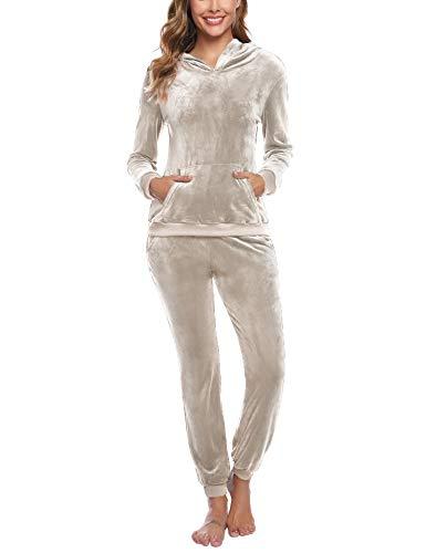 Akalnny Jogging Velours Ensemble Femme Sportswear Survetement Ensemble Yoga Sport d Interieur Veste Sport Fitness Tenue Interieur Femme,XS,abricot