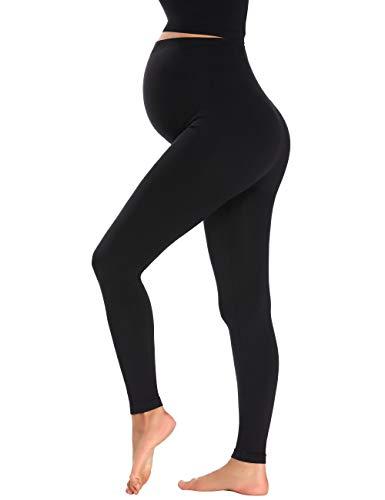 Matetnity Leggings Seamless Pregnancy Leggings Workout Pants Not See Through Black XL