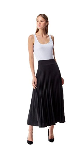 MoDDeals Women's Skirt Pleated Flared Knee Length Long Mini Or Short Midi and Maxi for Office Casual Or Dressy Party (Small, Black Maxi)