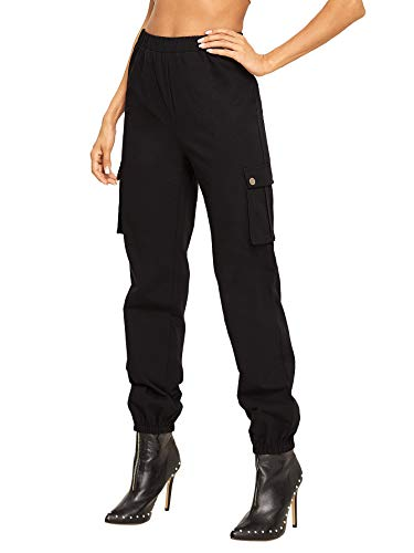SweatyRocks Women's Casual Elastic Waist Jogger Sweatpants with Pockets Black M