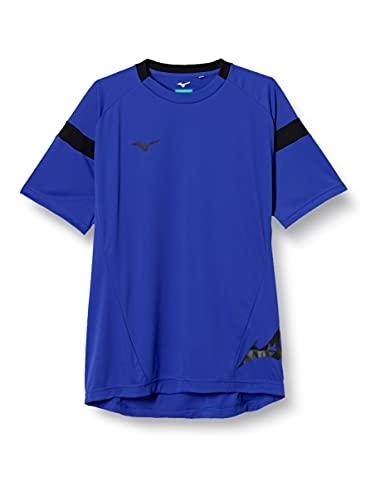 [ミズノ] サッカーウェア プラクティス半袖シャツ フィールドシャツ ソーラーカット 太陽光 遮断 スリムフィット 細身 男女兼用 P2MA8045 サーフブルー×ブラック S
