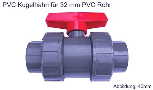 EXCOLO PVC Kugelhahn Ventil Kunststoff Kugelventil 32 mm - 63 mm für PVC Rohre für Wasser Pool Teich (Mit 32 mm PVC Rohr Muffen)