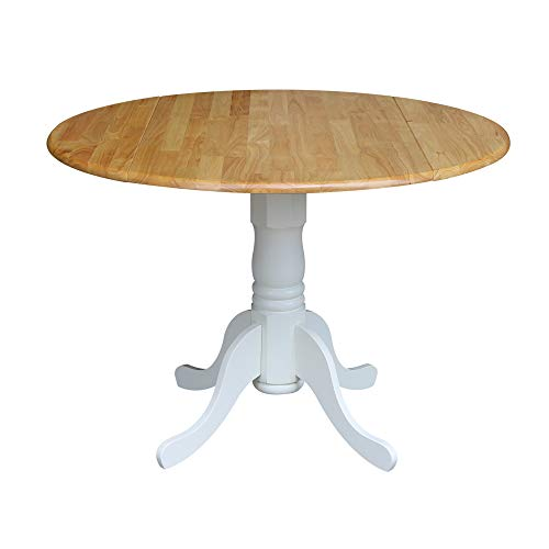 International Concepts 42-Inch Round Dual Drop Leaf Ped Table, White/Natural