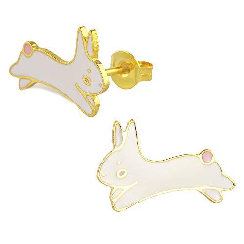 Monkimau - Orecchini da bambina a forma di coniglio, in ottone placcato oro 18 k