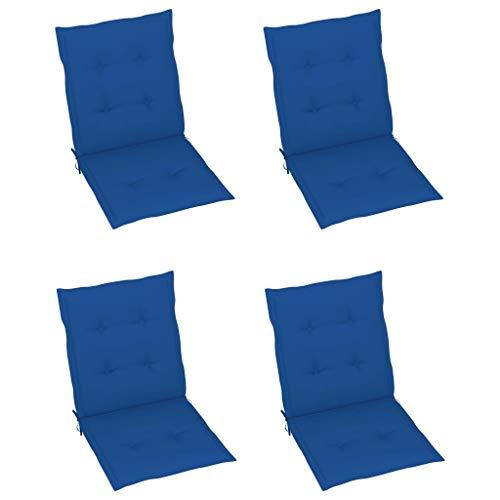vidaXL 4X Cojines para Sillas de Jardín Asiento Tumbona Patio Terraza Balcón Exterior Acolchado con Respaldo Alto Decoración Azul Klein 100x50x4 cm