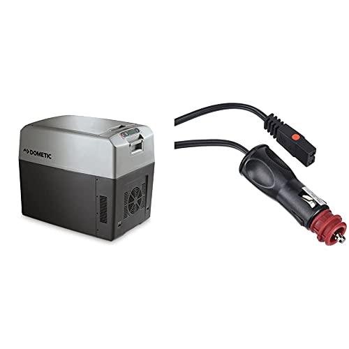DOMETIC TropiCool TC 35FL - tragbare elektrische Kühlbox/Heizbox, 33 Liter, 12/24 V DC und 220-240 V AC & MOBICOOL Ersatzkabel für thermoelektrische Kühlbox zum Anschluss an den 12-Volt-Stecker